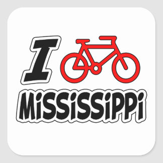 I Love Cycling Mississippi Square Sticker
