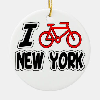 I Love Cycling New York Round Ceramic Decoration