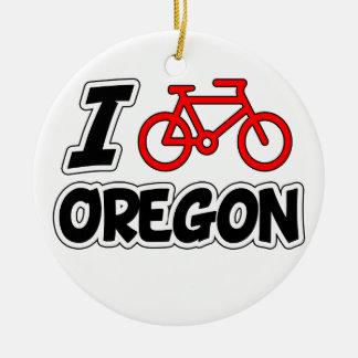 I Love Cycling Oregon Christmas Ornament