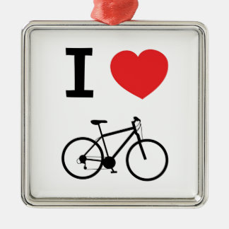 I love Cycling Silver-Colored Square Decoration