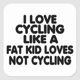 I Love Cycling Square Sticker