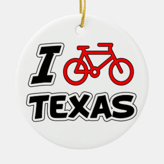 I Love Cycling Texas Round Ceramic Decoration