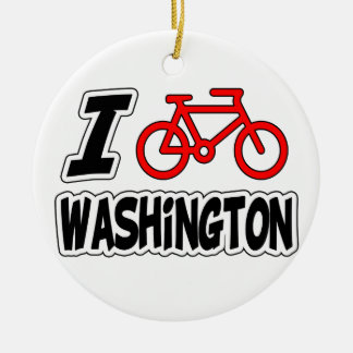 I Love Cycling Washington Christmas Ornament