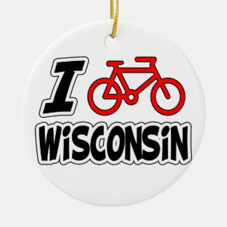 I Love Cycling Wisconsin Round Ceramic Decoration