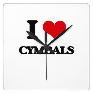 I love Cymbals Square Wall Clocks