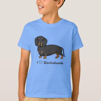 I Love Dachshunds Cute Black Wiener Dog T-Shirt