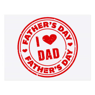 I Love Dad Father's Day Greeting red stamp Postcard