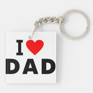 i love dad heart daddy text message father symbol Double-Sided square acrylic key ring
