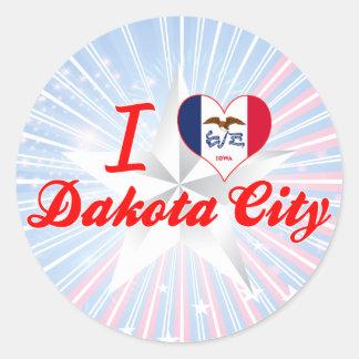I Love Dakota City, Iowa Round Sticker