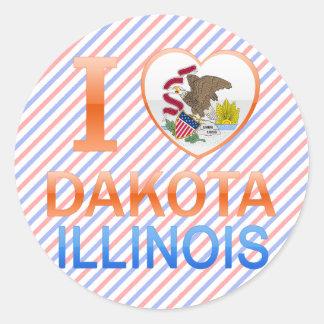 I Love Dakota, IL Round Sticker