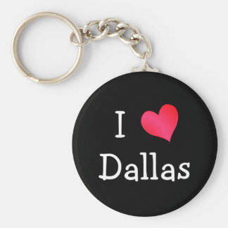 I Love Dallas Basic Round Button Key Ring