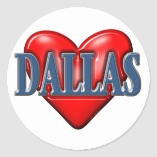 I love Dallas Texas Round Sticker