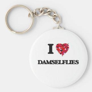 I love Damselflies Basic Round Button Key Ring