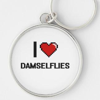 I love Damselflies Digital Design Silver-Colored Round Keychain