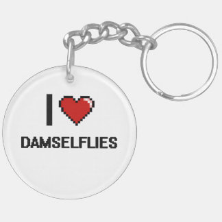 I love Damselflies Digital Design Double-Sided Round Acrylic Keychain