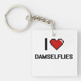 I love Damselflies Digital Design Single-Sided Square Acrylic Key Ring