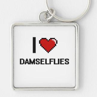 I love Damselflies Digital Design Silver-Colored Square Keychain