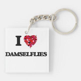 I love Damselflies Double-Sided Square Acrylic Key Ring