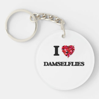I love Damselflies Single-Sided Round Acrylic Key Ring