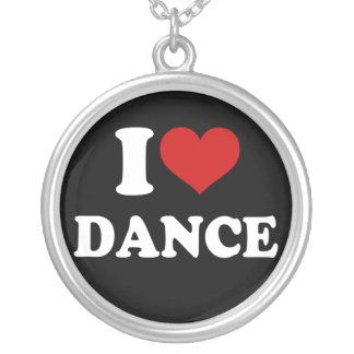 I Love Dance Silver Plated Necklace