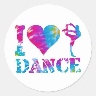 I Love Dance Tie Dye Round Sticker