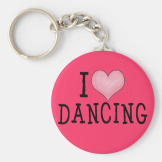 I Love Dancing Basic Round Button Key Ring