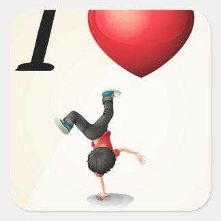 I love dancing square sticker