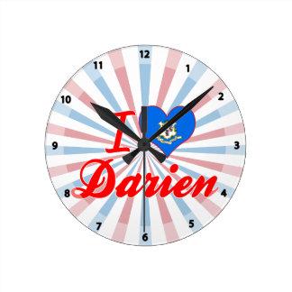 I Love Darien, Connecticut Round Wallclock