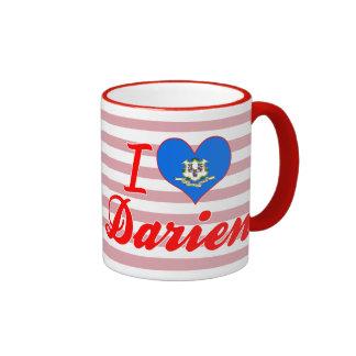I Love Darien, Connecticut Ringer Mug