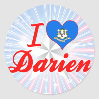 I Love Darien, Connecticut Round Sticker