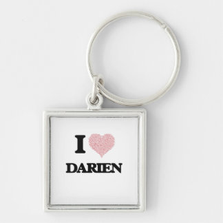 I Love Darien (Heart Made from Love words) Silver-Colored Square Key Ring