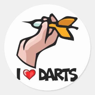 I Love Darts Round Sticker