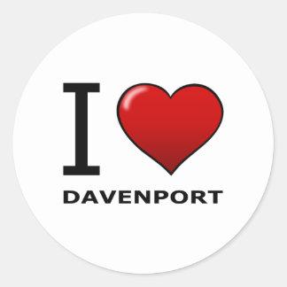I LOVE DAVENPORT,IA - IOWA CLASSIC ROUND STICKER