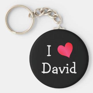 I Love David Basic Round Button Key Ring