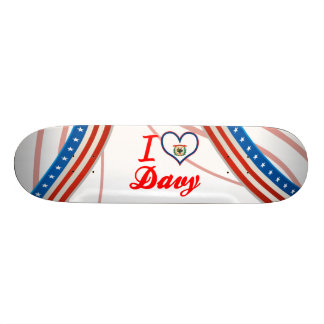 I Love Davy, West Virginia Custom Skate Board