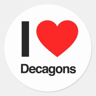 i love decagons round sticker