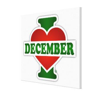 I Love December Stretched Canvas Prints
