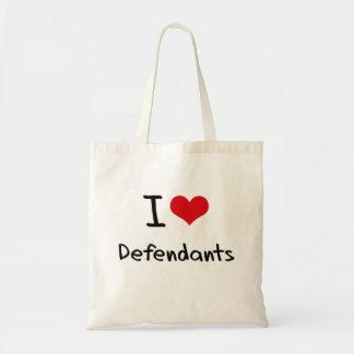 I Love Defendants Canvas Bags