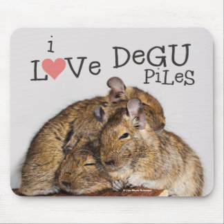 I Love Degu Piles Mousepad