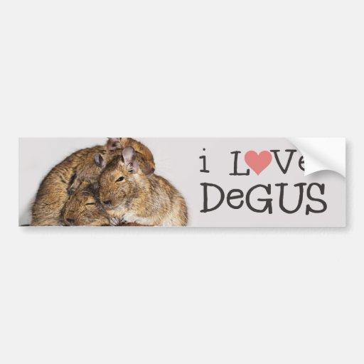 I Love Degus - Degu Pile Bumper Sticker