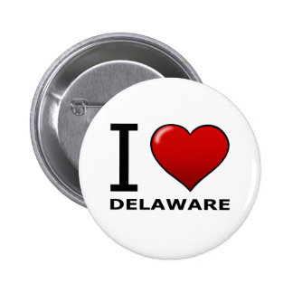 I LOVE DELAWARE PINBACK BUTTONS