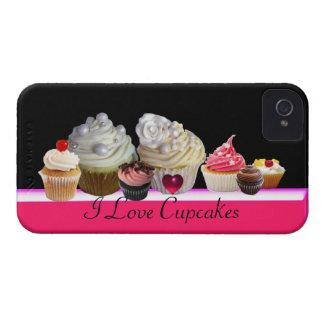 I LOVE DELICIOUS CUPCAKES Pink,Fuchsia White Case-Mate iPhone 4 Case