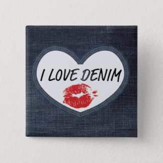 """I Love Denim 5.1 cm (2"""") Square Badge"""