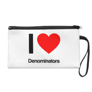 i love denominators wristlet clutches