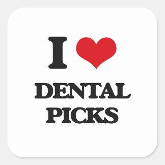 I love Dental Picks Square Stickers