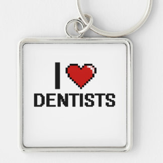 I love Dentists Silver-Colored Square Key Ring