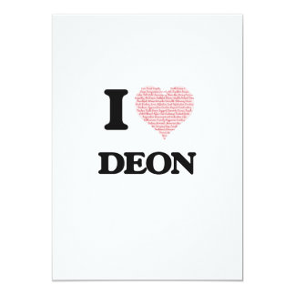 I Love Deon (Heart Made from Love words) 13 Cm X 18 Cm Invitation Card