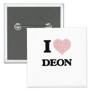 I Love Deon (Heart Made from Love words) 15 Cm Square Badge