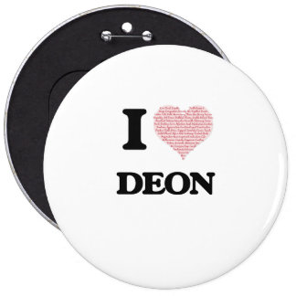I Love Deon (Heart Made from Love words) 6 Cm Round Badge