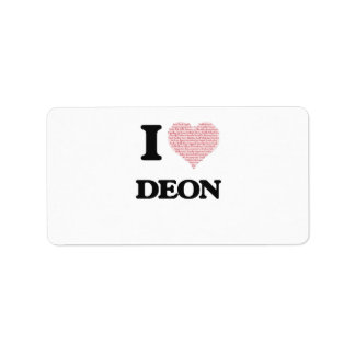 I Love Deon (Heart Made from Love words) Address Label